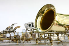 Saxophone. Bell and keys of a saxophone Royalty Free Stock Photos