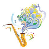 Saxophone. Instrument with graphic elements Royalty Free Stock Photo
