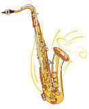 Saxophone. Editable hand drawn illustration royalty free illustration