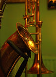 Saxophone. Parts of saxophone and trumpet Stock Images
