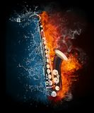 Saxophone. In Fire and Water Isolated on Black Background vector illustration
