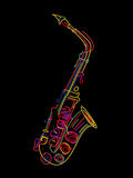 Saxophone. Illustration of a saxophone over black royalty free illustration