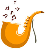 Saxophone. Illustration of isolated cartoon saxophone with note on white stock illustration