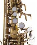 Saxophone. Detail of a golden saxophone royalty free stock photo