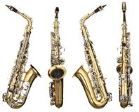 Saxophone. Four angles of a classical alto saxophone woodwind instrument Royalty Free Stock Photos