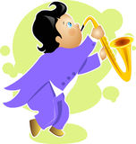 Χαρακτήρας κινουμένων σχεδίων saxophone παιχνιδιού αγοριών Στοκ Φωτογραφίες