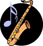 Saxophone. Simple saxophone on musical blackground vector illustration