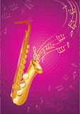 Saxophone. Violet background with gold sax royalty free illustration