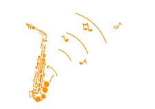Saxophone. Graphic of a saxophone with some musical notes royalty free illustration