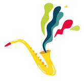 Saxophone. WOW! Gold Saxophone music & rainbow stock illustration