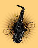 Saxophone. On a floral background stock illustration