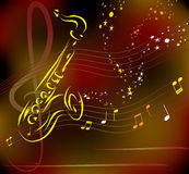 Saxophone on abstract background Royalty Free Stock Photography