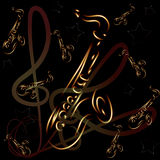 Saxophone on abstract background Royalty Free Stock Image