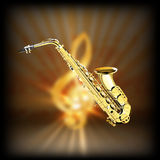Saxophone on a blurred background treble clef Royalty Free Stock Photo