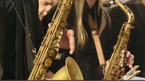 Saxophone brass band stock video