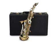 Saxophone and case. Isolated on white royalty free stock photography