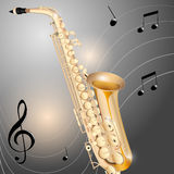 Saxophone. Chrome saxophone on abstract metal background Stock Images