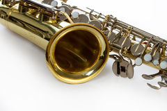 Saxophone close-up. Saxophone detail on white with clipping path stock photo