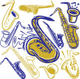 Saxophone Collection Royalty Free Stock Images