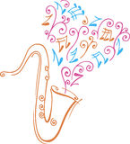 Saxophone. Colored design of saxophone and music notes Stock Image