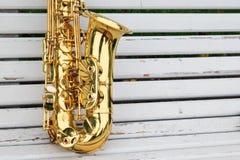 Saxophone d'alto en parc d'automne Images libres de droits