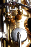 Saxophone detail. Close-up of Saxophone showing detail Royalty Free Stock Photo