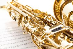 Saxophone with detailed keys view and part of bell Royalty Free Stock Photography