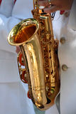 Saxophone details. In a band royalty free stock images