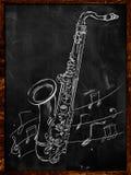 Saxophone drawing sketching on blackboard. Music wallpaper Stock Photo