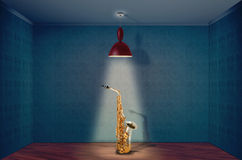 Saxophone. On a empty room Stock Photos