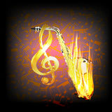 Saxophone on fire  a background with music notes. Vector illustration of a saxophone in the fire on the background with music notes. You can use any text or Royalty Free Stock Photography