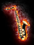 Saxophone in Flame Stock Image