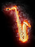 Saxophone in Flame. Saxophone in Fire Isolated on Black Background Stock Images