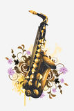Saxophone on a floral background Stock Images