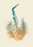Saxophone with floral patterns. Vector drawing of a saxophone with floral patterns Royalty Free Stock Images