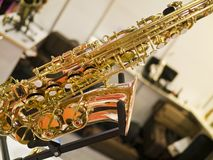 Saxophone fragment. In a exhibition Royalty Free Stock Image