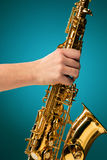 Saxophone - Golden alto saxophone classical instrument Royalty Free Stock Photo