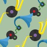 Saxophone, gramophone and three vinyl discs pattern Stock Photos