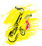 Saxophone on grunge background Stock Photos