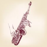 Saxophone hand drawn vector llustration Royalty Free Stock Images