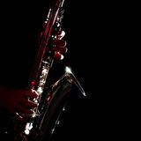 Saxophone hands close up Royalty Free Stock Images