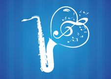 Saxophone Heart rom musical notes Stock Images