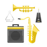 Saxophone icon music classical sound instrument vector illustration and brass entertainment golden band design equipment Royalty Free Stock Photo