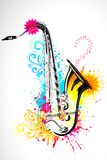Saxophone. Illustration of saxophone on abstract floral background vector illustration