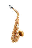 Saxophone isolated. Golden alto saxophone classical instrument isolated on white Royalty Free Stock Photo