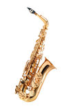 Saxophone isolated. Golden alto saxophone classical instrument isolated on white Stock Photography