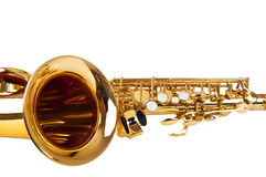 Saxophone isolated over white Royalty Free Stock Photography