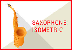 Saxophone isometric flat 3d vector Royalty Free Stock Photo