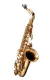 Saxophone Jazz instrument. Alto Saxophone woodwind instrument isolated over white Royalty Free Stock Photo