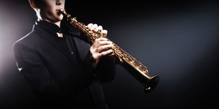 Saxophone Jazz Instruments. Saxophone soprano jazz music instruments Jazz man with sax Stock Photography
